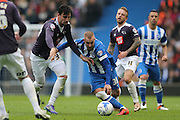 Derby County midfielder George Thorne (34) and Brighton striker Jiri Skalak (38) during the Sky Bet Championship match between Brighton and Hove Albion and Derby County at the American Express Community Stadium, Brighton and Hove, England on 2 May 2016.