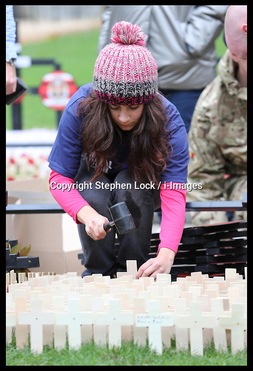 Chiara Raine from The Royal British Legion places the  wooden crosses into the Field of Remembrance at Westminster Abbey in London, Tuesday 6th November 2012. The officially opening will be performed  by the Duke of Edinburgh  on Thursday  8th November 2012. Photo by: Stephen Lock / i-Images