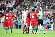 Portugal defender, Bruno Alves (02) red card, sent off during the Friendly International match between England and Portugal at Wembley Stadium, London, England on 2 June 2016. Photo by Matthew Redman.
