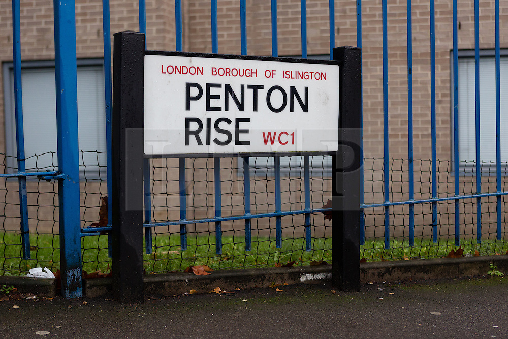© Licensed to London News Pictures. 03/01/2015. London, UK. A Penton Rise street sign. Police have launched a murder investigation after two men were found dead following a suspicious house fire in Penton Rise in Islington, north London last night. Photo credit : Vickie Flores/LNP