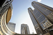 Photo shows the futuristic metropolitan government offices in Tokyo, Japan.