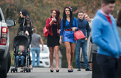 © Licensed to London News Pictures. 26/10/2017. Epsom, UK. A group of women arrive at the funeral of Tom 'Tomboy' Doherty the nephew of Big Fat Gypsy Weddings star Paddy Doherty, at Epsom Cemetery in Epsom, Surrey. Tom Doherty was 17 when he was killed in a car crash in South Nutfield in Surrey on October 9. He had passed his driving test just days earlier. Photo credit: Ben Cawthra/LNP