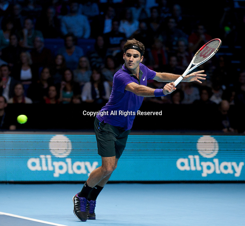 08.11.2012 London, England.  Roger Federer (SUI) in action against David Ferrer (ESP) during the Barclays ATP World Tour Finals from the 02 Arena.