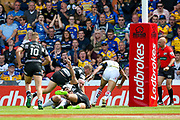 Hull FC replacement Chris Green (15) scores a try to make the score 16-12 during the Challenge Cup 2017 semi final match between Hull RFC and Leeds Rhinos at the Keepmoat Stadium, Doncaster, England on 29 July 2017. Photo by Simon Davies.