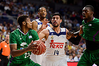 Real Madrid's Gustavo Ayon and Anthony Randolph and Unicaja Malaga's Jeff Brooks during semi finals of playoff Liga Endesa match between Real Madrid and Unicaja Malaga at Wizink Center in Madrid, May 31, 2017. Spain.<br /> (ALTERPHOTOS/BorjaB.Hojas)