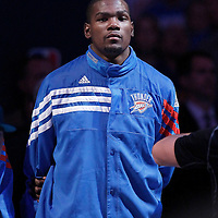 12 June 2012: Oklahoma City Thunder small forward Kevin Durant (35) stands during the National Anthem prior to the first quarter of Game 1 of the 2012 NBA Finals between the Heat and the Thunder, at the Chesapeake Energy Arena, Oklahoma City, Oklahoma, USA.