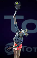 DOHA, Feb. 14, 2019  Elise Mertens of Belgium serves during the women's singles second round match between Kristyna Pliskova of the Czech Republic and Elise Mertens of Belgium at the 2019 WTA Qatar Open in Doha, Qatar, Feb. 13, 2019. Elise Mertens won 2-0. (Credit Image: © Nikku/Xinhua via ZUMA Wire)
