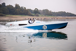 @Licensed to London News Pictures 26/09/2017. Bewl Water, Kent. Sir Malcolm Campbell's world water speed record-breaking hydroplane Bluebird K3 takes to the water once more with a test run at Bewl Water on the Kent and Sussesx border.Bluebird K3 has undergone extensive restoration using many of the original parts including the fully restored Rolls Royce engine.Photo credit: Manu Palomeque/LNP