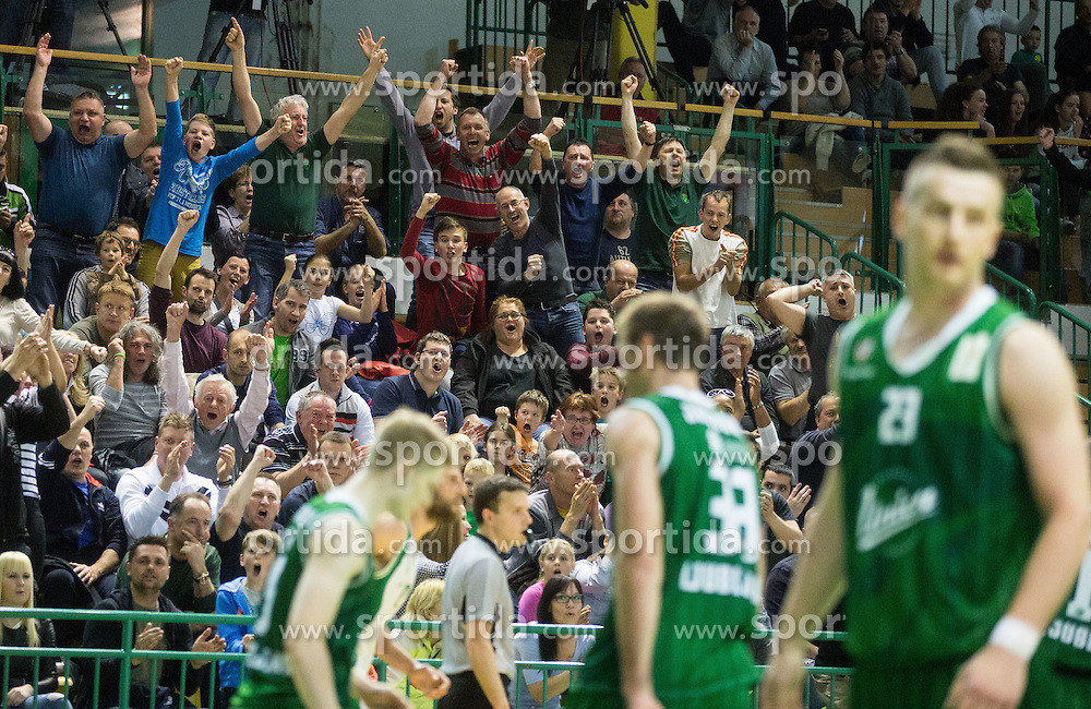 Supporters of Krka during basketball match between KK Krka and KK Union Olimpija in Round #7 of Telemach League for Slovenian National Champion 2014/15 on April 18, 2015 in Dvorana Leona Stuklja, Novo mesto, Slovenia. Photo by Vid Ponikvar / Sportida