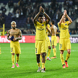 Team of PSG celebrates the victory during the UEFA Champions League match between RSC Anderlecht and Paris Saint-Germain at Constant Vanden Stock Stadium on October 18, 2017 in Brussels, Belgium. (Photo by Anthony Dibon/Icon Sport)