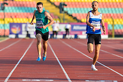 From left to right Paul Keogan, IRE, Vladyslav Zahrebelnyi, UKR competing in the T37, 200m at the Berlin 2018 World Para Athletics European Championships