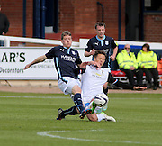 Dundee's Jim McAlister tackles Inverness Caledonian Thistle&rsquo;s Danny Williams - Dundee v Inverness Caledonian Thistle - SPFL Premiership at Dens Park <br /> <br />  - &copy; David Young - www.davidyoungphoto.co.uk - email: davidyoungphoto@gmail.com