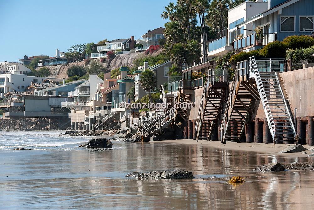 Malibu Road, Ca, Colorful, Luxury, Oceanfront, Beach, Houses, Raised, Stilts, Pilings, low tide, Los Angeles, CA,