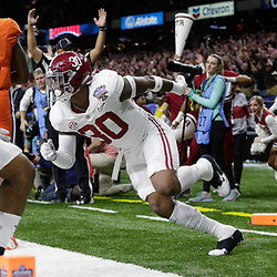 Jan 1, 2018; New Orleans, LA, USA; Alabama Crimson Tide linebacker Mack Wilson (30) reacts after a touchdown during the third quarter against the Clemson Tigers in the 2018 Sugar Bowl college football playoff semifinal game at Mercedes-Benz Superdome. Mandatory Credit: Derick E. Hingle-USA TODAY Sports