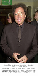 Singer TOM JONES at a reception in London on 29th June 2001.OPX 7