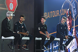February 23, 2019 - Abu Dhabi, United Arab Emirates - Jonathan Edwards (Left), the event host, an Olympic, World, Commonwealth and European champion in triple jump, and a holder of the world record in the event since 1995, speaks with Fernando Gaviria (UAE Team Emirates), Mark Cavendish (Team Dimension Data) and Elia Viviani (Team Deceuninck-QuickStep), during the Team Presentation, at the opening ceremony of the 1st UAE Tour, inside Louvre Abu Dhabi museum..On Saturday, February 23, 2019, Abu Dhabi, United Arab Emirates. (Credit Image: © Artur Widak/NurPhoto via ZUMA Press)