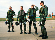 Pilots of the 'Red Arrows', Britain's Royal Air Force aerobatic team after another hard day's winter training flights.