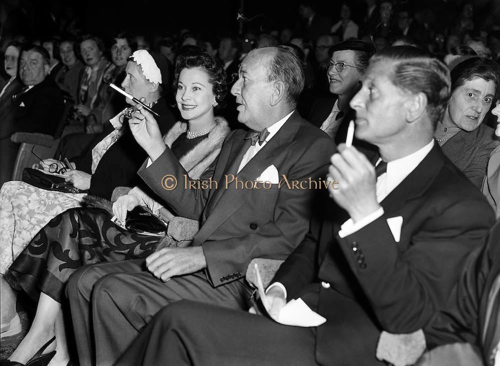 "Vivian Leigh with Noel Coward at Olympia Theatre.04/10/56..Vivien Leigh, Lady Olivier (05/11/1913 - 07/07/1967) was an English actress. She won the Best Actress Academy Award for her portrayal of Blanche DuBois in A Streetcar Named Desire (1951), a role she also played on stage in London's West End, as well as for her portrayal of the southern belle Scarlett O'Hara, alongside Clark Gable, in the epic American Civil War drama Gone with the Wind..She was a prolific stage performer, frequently in collaboration with her then-husband, Laurence Olivier, who directed her in several of her roles. During her 30-year stage career, she played roles ranging from the heroines of Noël Coward and George Bernard Shaw comedies to classic Shakespearean characters such as Ophelia, Cleopatra, Juliet and Lady Macbeth..Lauded for her beauty, Leigh felt that it sometimes prevented her from being taken seriously as an actress. However, ill health proved to be her greatest obstacle. For much of her adult life Leigh suffered from bipolar disorder. She earned a reputation for being difficult to work with, and her career suffered periods of inactivity. She also suffered recurrent bouts of chronic tuberculosis, first diagnosed in the mid-1940s. Leigh and Olivier divorced in 1960, and she worked sporadically in film and theatre until her death from tuberculosis in 1967..Sir Noël Peirce Coward (16/12/1899 - 26/03/) was an English playwright, composer, director, actor and singer, known for his wit, flamboyance, and what Time magazine called ""a sense of personal style, a combination of cheek and chic, pose and poise""..Born in Teddington, a suburb of London, Coward attended a dance academy in London as a child, making his professional stage début at the age of eleven. As a teenager he was introduced into the high society in which most of his plays would be set. Coward achieved enduring success as a playwright, publishing more than 50 plays from his teens onwards. Many of his works, such as"