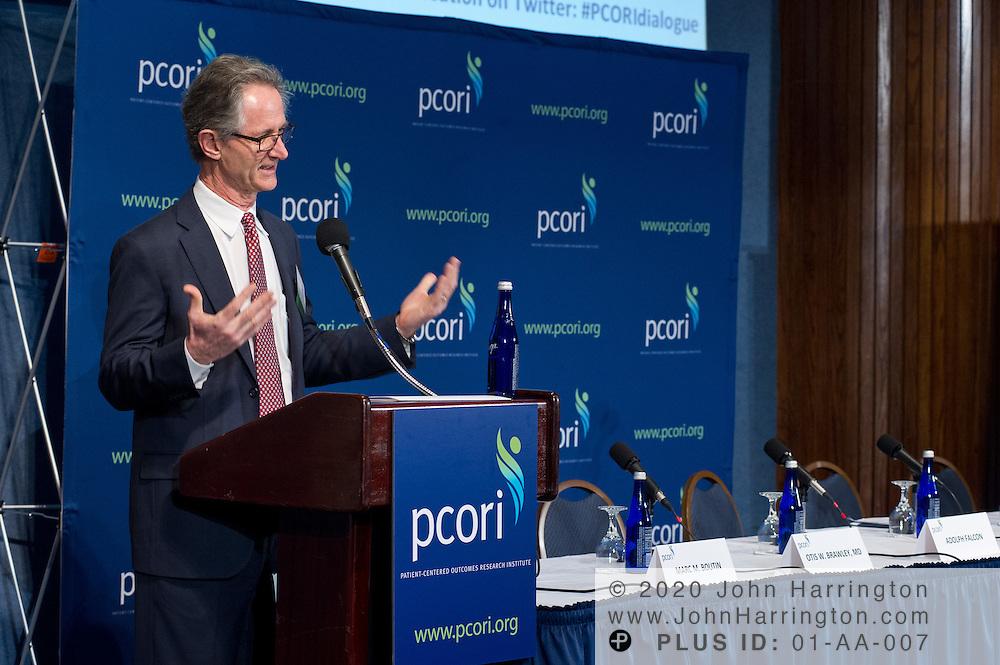 PCORI Executive Director Joe Selby, MD, MPH, welcomes participants in the PCORI National Patient and Stakeholder Dialogue at the National Press Club in Washington, DC on February 27th, 2012. The Dialogue aims to increase awareness of PCORI's work and allow the public to comment on their standards, strategies and priorities.