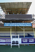 Kingsmeadow/ Cherry Red Records Stadium old scoreboard during the EFL Sky Bet League 1 match between AFC Wimbledon and Fleetwood Town at the Cherry Red Records Stadium, Kingston, England on 8 February 2020.