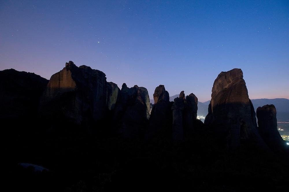 Greece, Meteora, cliffs in light of rising Moon
