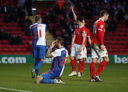 Blackburn Rovers midfielder, Willem Tomlinson (27) missing a chance to score during the Sky Bet Championship match between Charlton Athletic and Blackburn Rovers at The Valley, London, England on 23 January 2016. Photo by Matthew Redman.