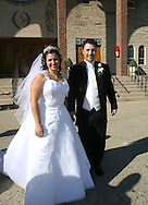 Brooklyn, N.Y.  The wedding ceremony of Christine Neve and Vincent Brace at Saints Simon and Judes R.C. Church on Ave T. Posing outside the church after the ceremony.