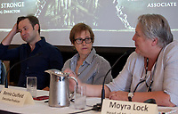 Oliver Butler, Executive Producer Bernie Caulfield, Moyra Lock, head of Marketing, with Northern Ireland Screen, at the 'The Game Of Thrones Effect' Panel Discussion at the Galway Film Fleadh, The Galmont Hotel, Galway, Ireland. Saturday 14th July 2018