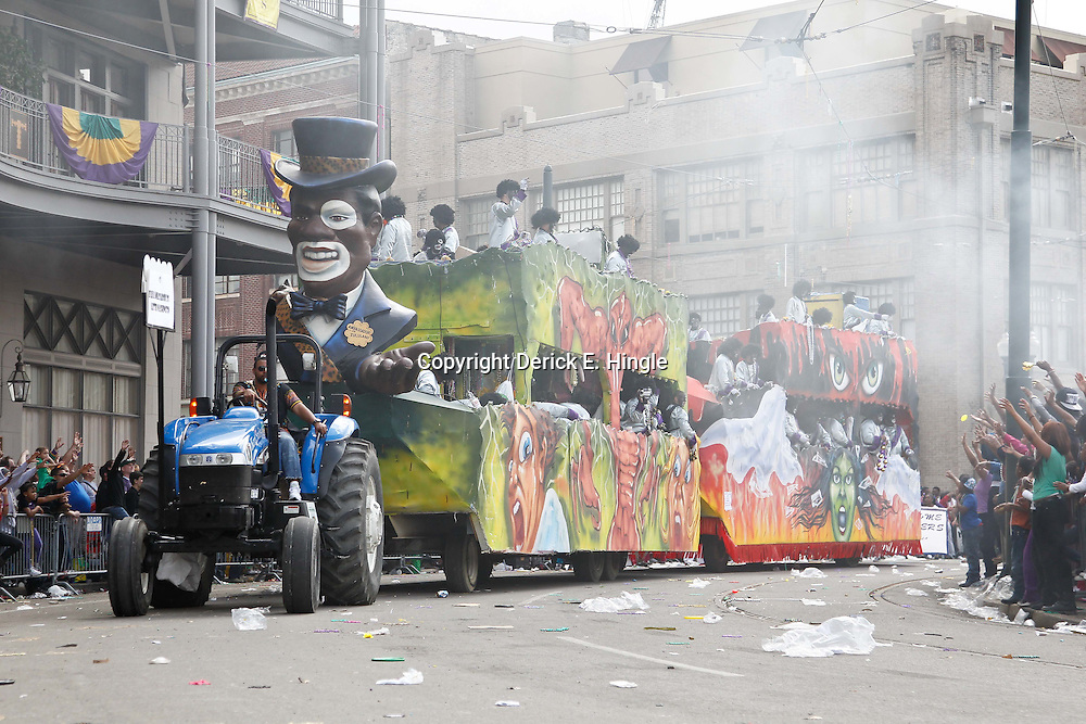 February 21, 2012; New Orleans, LA, USA; A float from the Krewe of Zulu parade as it rolled along the uptown New Orleans St. Charles Avenue parade route throwing beads, painted coconuts and various trinkets on Mardi Gras day. Mardi Gras is an annual celebration that ends at midnight with the start of the Catholic Lenten season which begins with Ash Wednesday and ends with Easter. Photo by: Derick E. Hingle