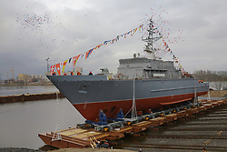 April 25, 2018 - Saint Petersburg, Russia - April 25, 2018. - Russia, Saint Petersburg. - The third glass reinforced plastic trawler of Project 12700 series 'Ivan Antonov' built for the Russian Navy during the launching ceremony at Sredne-Nevsky Shipyard. (Credit Image: © Russian Look via ZUMA Wire)