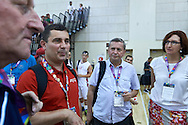 (L) SO Poland basketball trainer coach speaks to (C) Tadeusz Tomaszewski after basketball match SO Poland v SO Canada during second day of the Special Olympics World Games Los Angeles 2015 on July 26, 2015 on Galen Center at University of Southern California in Los Angeles, USA.<br /> USA, Los Angeles, July 26, 2015<br /> <br /> Picture also available in RAW (NEF) or TIFF format on special request.<br /> <br /> For editorial use only. Any commercial or promotional use requires permission.<br /> <br /> Adam Nurkiewicz declares that he has no rights to the image of people at the photographs of his authorship.<br /> <br /> Mandatory credit:<br /> Photo by © Adam Nurkiewicz / Mediasport