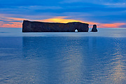 Le Rocher Percé or Percé Rock in the Atlantic Ocean at dusk<br />