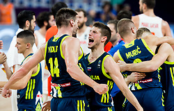Gasper Vidmar of Slovenia and Aleksej Nikolic of Slovenia celebrate after winning during basketball match between National Teams of Slovenia and Spain at Day 15 in Semifinal of the FIBA EuroBasket 2017 at Sinan Erdem Dome in Istanbul, Turkey on September 14, 2017. Photo by Vid Ponikvar / Sportida