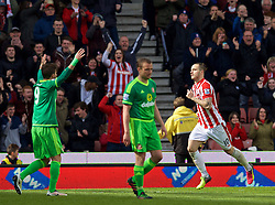 STOKE-ON-TRENT, ENGLAND - Saturday, April 30, 2016: Stoke City's Marko Arnautovic celebrates scoring the first goal against Sunderland during the FA Premier League match at the Britannia Stadium. (Pic by David Rawcliffe/Propaganda)