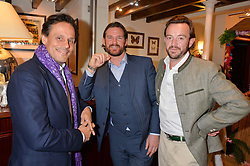 Left to right, ARUN NAYAR, LIAM BOTHAM and ALEXANDER MAVROS at a pre christmas party & shopping evening at Patrick Mavros, 104-106 Fulham Road, London on 26th November 2014.