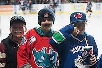 KELOWNA, CANADA - NOVEMBER 22: Young hockey fans sport moustaches in support of Movember as the Kelowna Rockets play the Portland Winterhawks on November 22, 2014 at Prospera Place in Kelowna, British Columbia, Canada.  (Photo by Marissa Baecker/Shoot the Breeze)  *** Local Caption *** fans