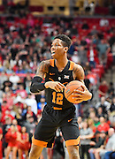 LUBBOCK, TX - MARCH 1: Kerwin Roach Jr. #12 of the Texas Longhorns handles the ball during the game against the Texas Tech Red Raiders on March 1, 2017 at United Supermarkets Arena in Lubbock, Texas. Texas Tech defeated Texas 67-57. (Photo by John Weast/Getty Images) *** Local Caption *** Kerwin Roach Jr.