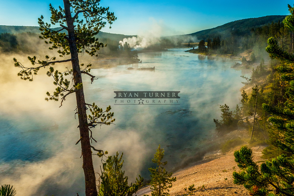 Yellowstone River and hot springs early in the morning.  Limited Edition - 150