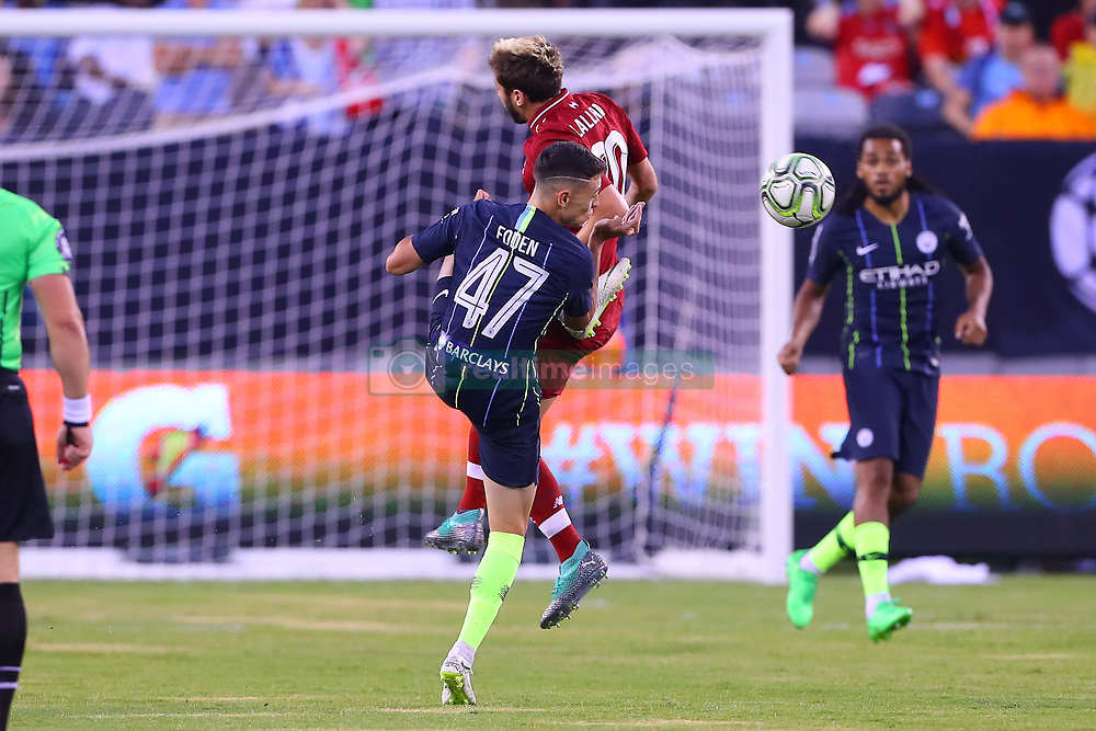 July 25, 2018 - East Rutherford, NJ, U.S. - EAST RUTHERFORD, NJ - JULY 25:  Liverpool midfielder Adam Lallana (20) battles Manchester City midfielder Phil Foden (47) during the first half of the International Champions Cup Soccer game between Liverpool and Manchester City on July 25, 2018 at Met Life Stadium in East Rutherford, NJ.  (Photo by Rich Graessle/Icon Sportswire) (Credit Image: © Rich Graessle/Icon SMI via ZUMA Press)