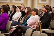 Audience members listen to keynote speaker Nancy Miller talk about how her time at Ohio University is still a part of her life today.  Photo by Ohio University / Jonathan Adams