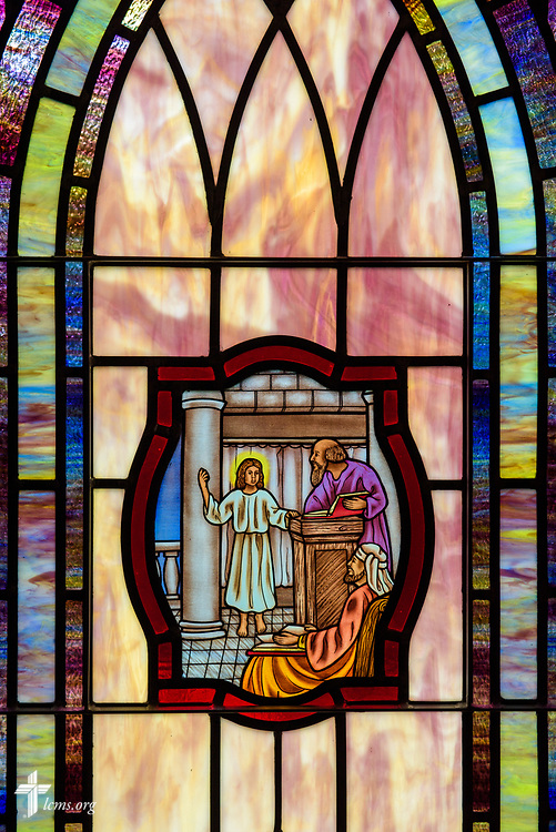 Stained glass depicting Jesus as a boy in the temple, (Luke 2:41) at St. John's Lutheran Church, Conover, N.C, on Friday, April 21, 2017. LCMS Communications/Erik M. Lunsford