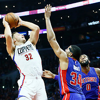 07 November 2016: Los Angeles Clippers forward Blake Griffin (32) goes for the jump shot against Detroit Pistons forward Tobias Harris (34) during the LA Clippers 114-82 victory over the Detroit Pistons, at the Staples Center, Los Angeles, California, USA.