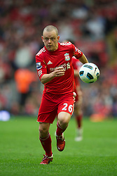 LIVERPOOL, ENGLAND - Saturday, April 23, 2011: Liverpool's Jay Spearing in action against Birmingham City during the Premiership match at Anfield. (Photo by David Rawcliffe/Propaganda)