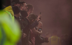 General view as Manchester United fans let off a flair after scoring - Mandatory by-line: Jack Phillips/JMP - 28/12/2019 - FOOTBALL - Turf Moor - Burnley, England - Burnley v Manchester United - English Premier League