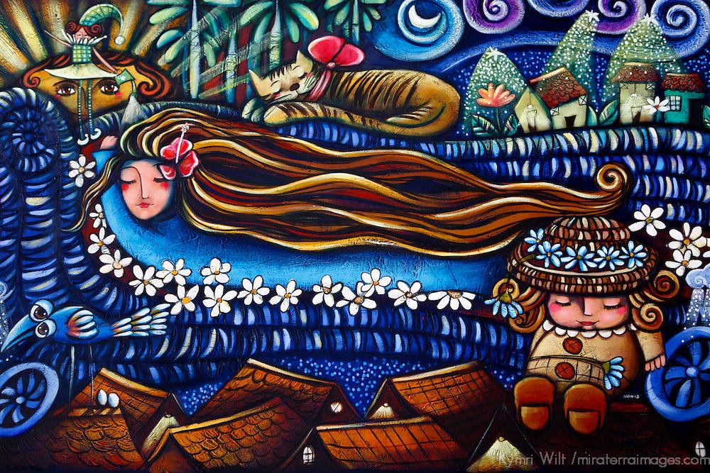 Central America, Cuba, Caibarien. Painting by Mayelin Pérez Noa.