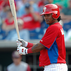 February 24, 2011; Clearwater, FL, USA; Philadelphia Phillies shortstop Michael Martinez (19) during a spring training exhibition game against the Florida State Seminoles at Bright House Networks Field. Mandatory Credit: Derick E. Hingle