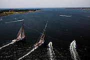 Ranger and Velsheda sailing in the J Class Regatta in Newport, Rhode Island.