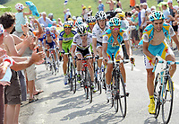 Sykkel<br /> Tour de France 2010<br /> 11.07.2010<br /> Foto: PhotoNews/Digitalsport<br /> NORWAY ONLY<br /> <br /> IVAN BASSO - ANDY SCHLECK - CADEL EVANS - ALBERTO CONTADOR<br /> <br /> STAGE RIT ETAPE 8 : STATION DES ROUSSES - MORZINE AVORIAZ