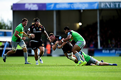 Sam Simmonds of Exeter Chiefs is tackled by Tom Lawday of Harlequins - Mandatory by-line: Ryan Hiscott/JMP - 19/10/2019 - RUGBY - Sandy Park - Exeter, England - Exeter Chiefs v Harlequins - Gallagher Premiership Rugby