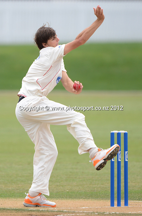Ryan McCone bowling for Canterbury. Plunket Shield Cricket, Auckland Aces v Canterbury Wizards at Eden Park Outer Oval. Auckland on Tuesday 18 December 2012. Photo: Andrew Cornaga/Photosport.co.nz